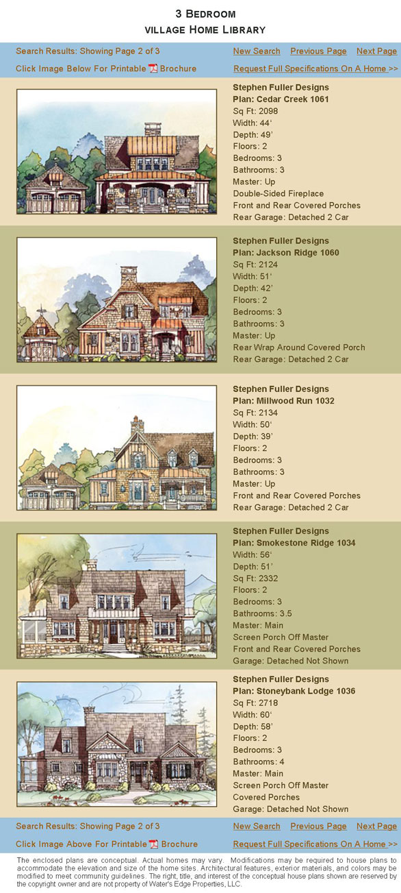 House Plans Village Home Sites Water S Edge